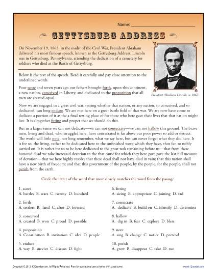 Free, Printable Gettysburg Address Worksheet