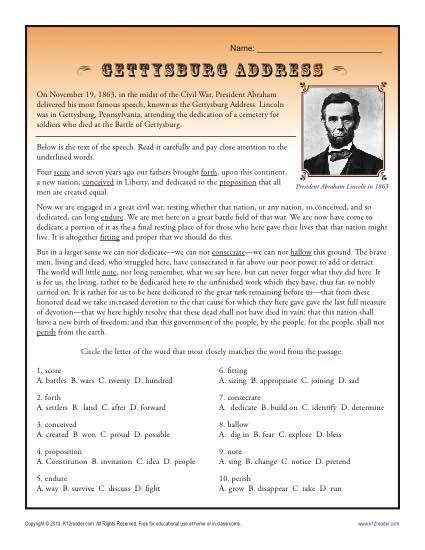 Context clues printable worksheets high school