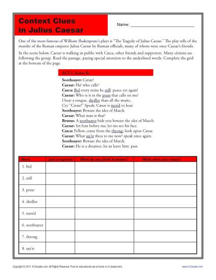 High School Context Clues Worksheet - Julius Caesar