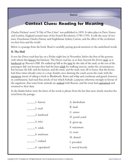 Context Clues Reading For Meaning High School Worksheets Writing Worksheets High School High School Context Clues Worksheet Activity Reading For Meaning