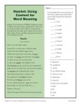 Using Context for Word Meaning Printable Activity - Hamlet