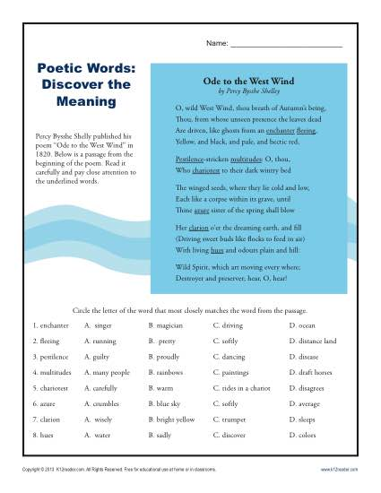 Discover the Meaning of Poetic Words Activity