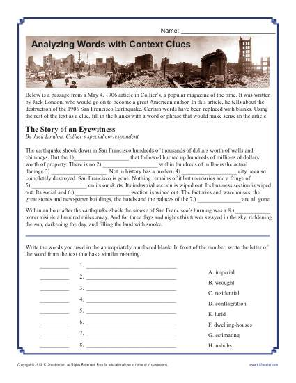 Analyzing Words With Context Clues Middle School Worksheet