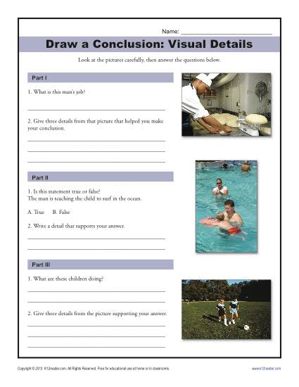Visual Details Drawing Conclusions Worksheet For Middle