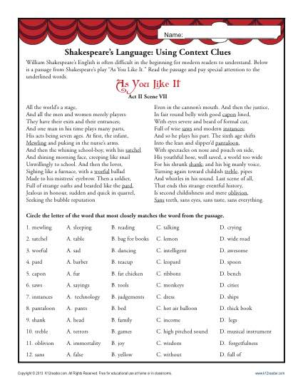 shakespeare s language using context clues middle school worksheets. Black Bedroom Furniture Sets. Home Design Ideas