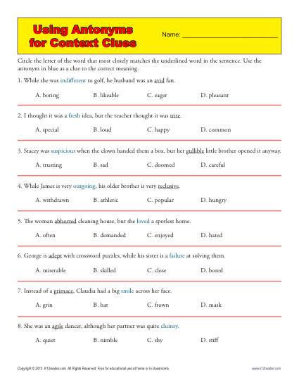 Using Antonyms For Context Clues Middle School Worksheets