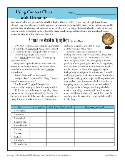 Using Context Clues With Literature Middle School Worksheets