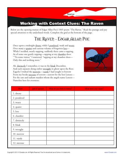 The Raven Context Clues Worksheets For Middle School