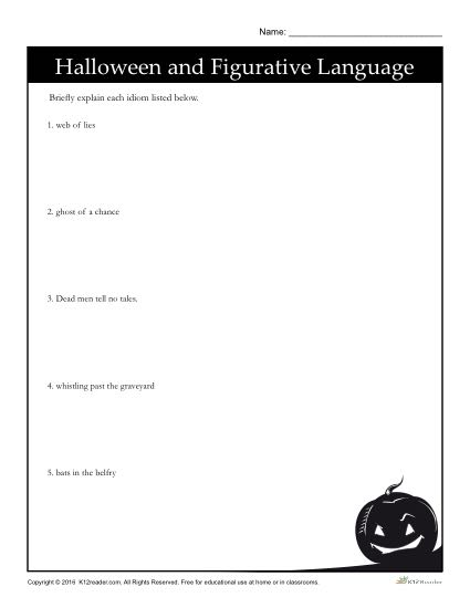Halloween Figurative Language Activity Worksheet