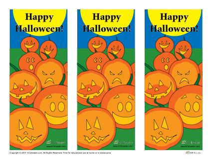 photograph relating to Printable Jackolantern named Printable Halloween Jack-o-lanterns Bookmarks K12Reader