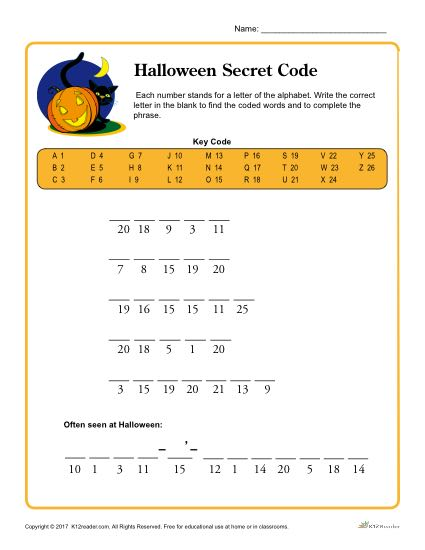Halloween Secret Code Printable Activity