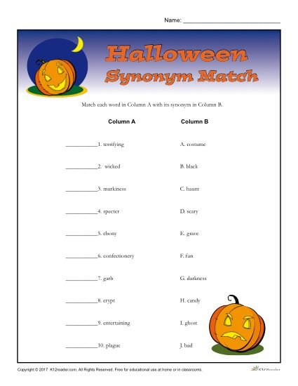 halloween synonym match worksheet