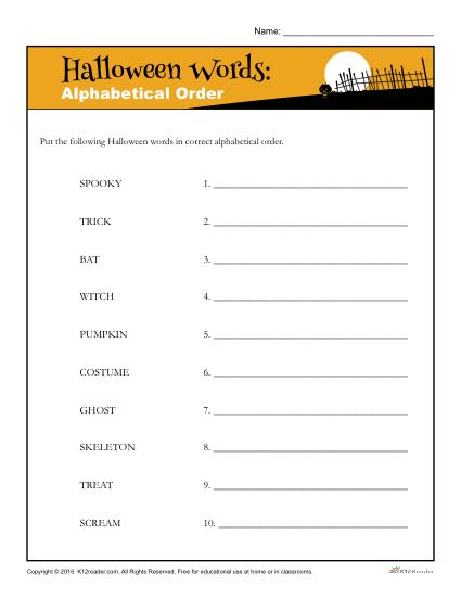 Halloween Alphabet Worksheet Activity - Alphabetize the words