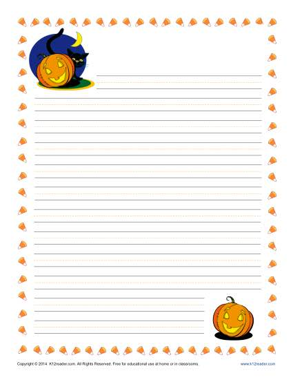 Printable Halloween Lined Paper For Kids