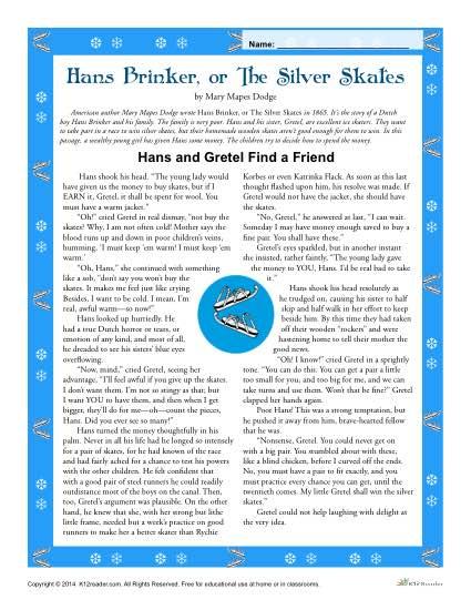 Hans Brinker 4th and 5th Grade Reading Comprehension Worksheet Set