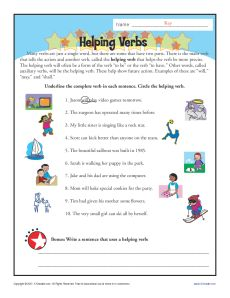Helping Verbs Worksheet Activity