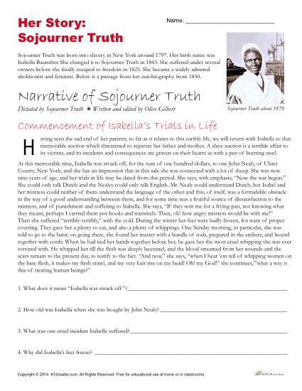Free Reading Comprehension Activity - Narrative of Sojourner Truth