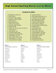 High School Spelling Words Master Worksheet
