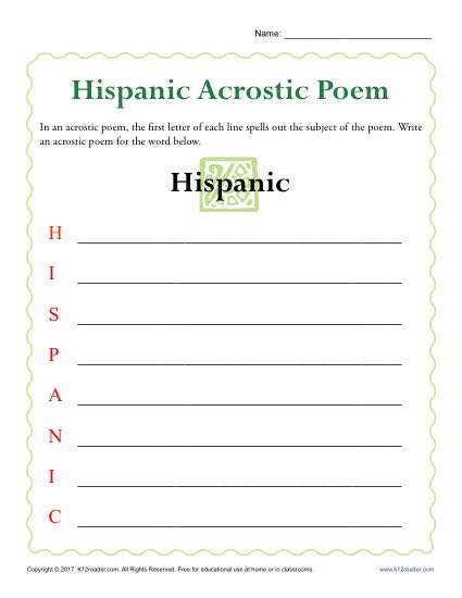 Hispanic Heritage Month Activity: Acrostic Poem