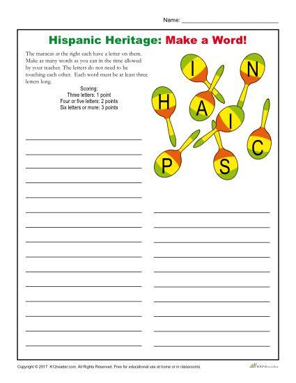 Hispanic Heritage Month Activity - Make a Word!