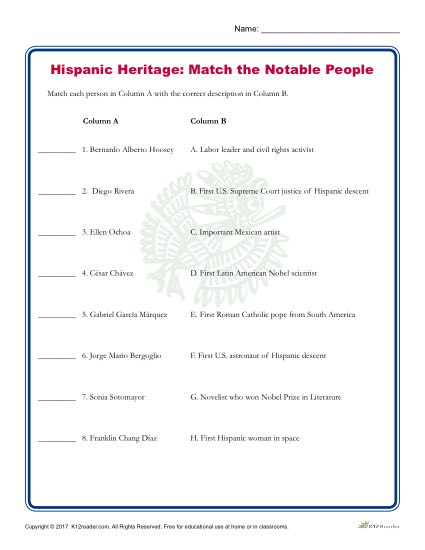 Hispanic Heritage Month Activity - Match the Notable People!