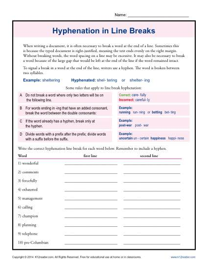 Hyphenation in Line Breaks Worksheet Practice Activity