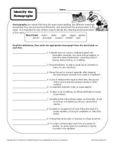 Homograph Worksheet - Identify the Homographs