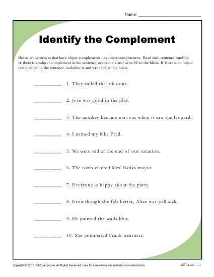 Identify the Complement - Printable Reading Worksheet