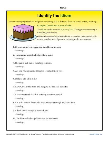 Identify the Idiom - Worksheet Practice Activity