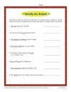 Simple Subject and Complete Subject Worksheet