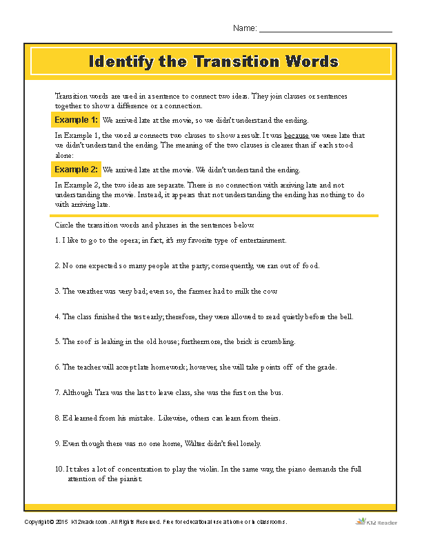 Printable Worksheets identifying patterns worksheets : Identify the Transition Words Printable Writing Worksheet