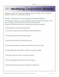 Identifying Conjunctive Adverbs Worksheet Activity