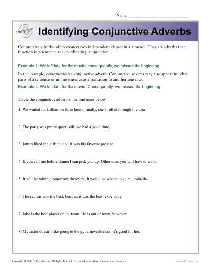 identifying conjunctive adverbs conjunction worksheets. Black Bedroom Furniture Sets. Home Design Ideas