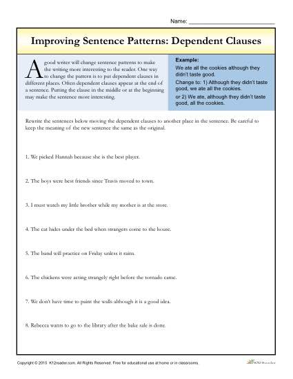 Improving Sentence Patterns Worksheet Activity: Dependent Clauses