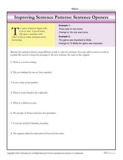 Improving Sentence Patterns Worksheet Activity: Sentence Openers