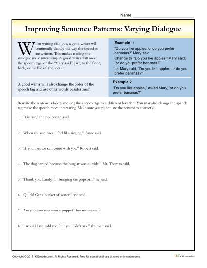 Improving Sentence Patterns Worksheet Activity: Varying Dialogue