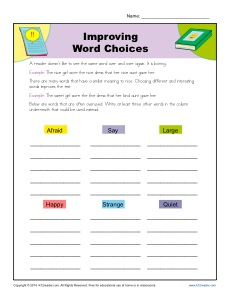 Improving Word Choices Worksheet Practice Activty