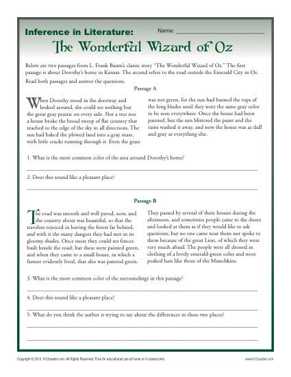 Inference In Literature: The Wizard Of Oz Middle School Worksheets