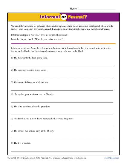 Using Informal or Formal Language in Writing - Worksheet Practice Activity