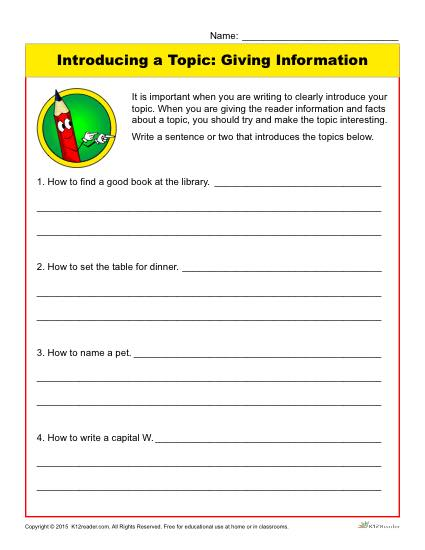 Writing Introductions Worksheet: Introducing a Topic: Giving Information