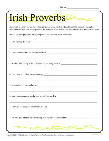 graphic regarding St Patrick's Day Worksheets Free Printable titled St. Patricks Working day Worksheet Irish Proverbs