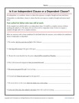 Independent Clause or Dependent Clause Worksheet Activity