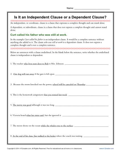 Quiz &amp- Worksheet - How to Combine Dependent &amp- Independent Clauses ...