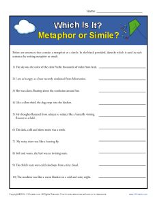 Simile and Metaphor Worksheet - Identifying similes and