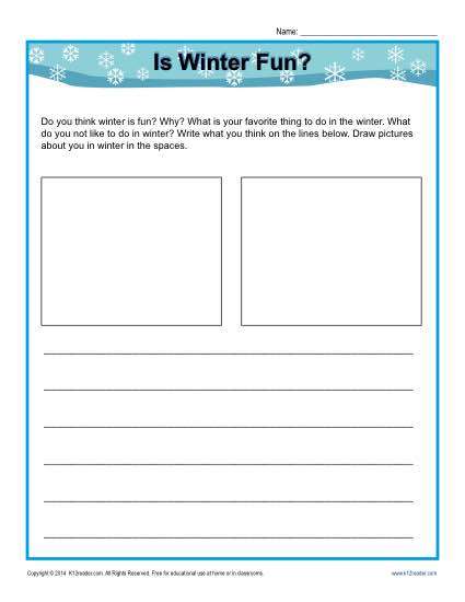Free printable Kindergarten writing prompt - Is Winter Fun?