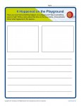 Free printable Kindergarten writing prompt - It Happened on the Playground