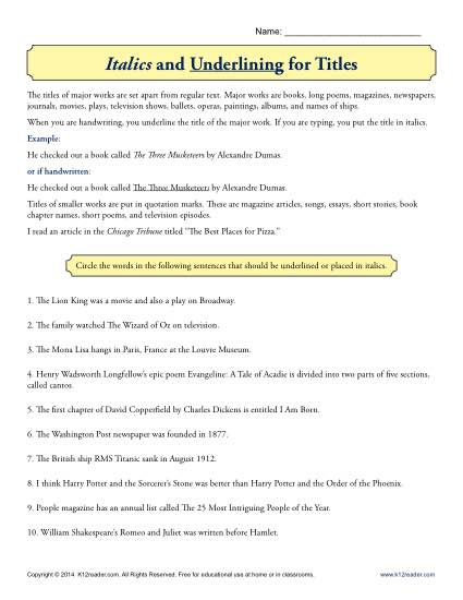 italics and underlining for titles worksheet activity. Black Bedroom Furniture Sets. Home Design Ideas