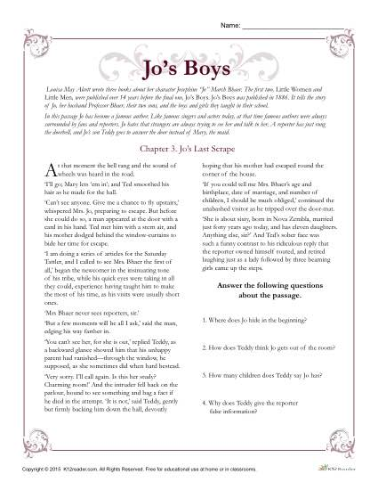 Jo's Boys Classic Literature Worksheet Activitites