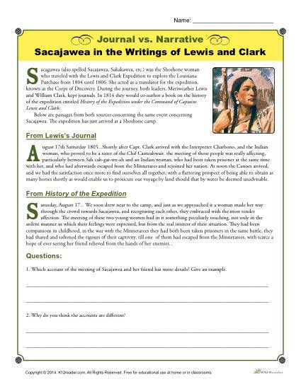 picture relating to Lewis Clark Printable Activities called Magazine vs. Narrative Video game: Sacajawea via Lewis and CLark