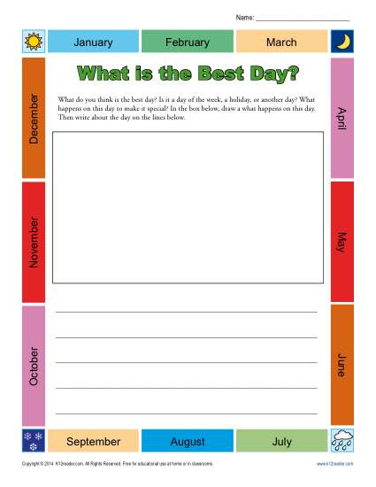 Kindergarten Writing Prompt - What is the Best Day?